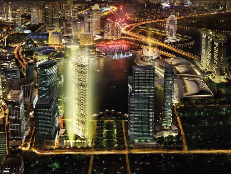 """""""The latest prize residence in Singapore, the Marina Bay Suites, features 66-storeys consisting of a total of 221 units.""""  New Real State building: Marina Bay Suites Marina Bay Suites nite low res 740x560"""