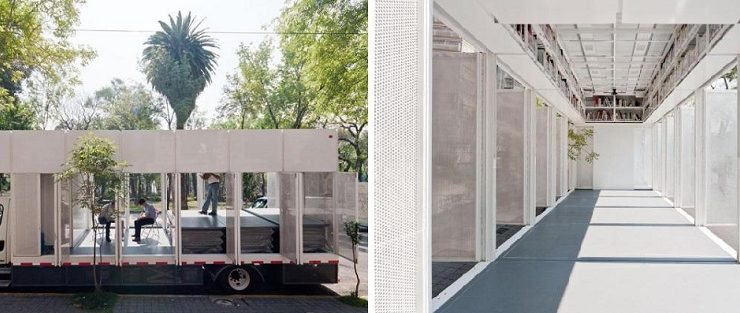 """""""Whilst this is far from being a new trend, it's definitely interesting to see how varied these buildings are in their usage and the way in which they are configured.""""  Architecture trend: mobile buildings A47 Mobile Library by PRODUCTORA Yellowtrace 02 740x313"""