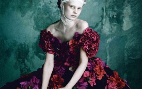 """Vogue Germany has dedicated a whole spread to the imaginary meeting of Dolce&Gabbana with queen Marie Antoinette in their April 2014 issue.""  Marie Antoinette wearing Dolce&Gabbana Alta Moda dolce and gabbana alta moda spring summer 2014 marie antoinette on vogue germany shots roses application gown 480x300"