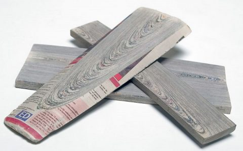"""With so much paper as the end result of making newspapers, Mieke envisioned an opportunity to upcycle the process and re-create wood""  New use of materials: Newspaper furniture Newspaper Wood Mieke Meijer Vij5 yatzer 25 480x300"