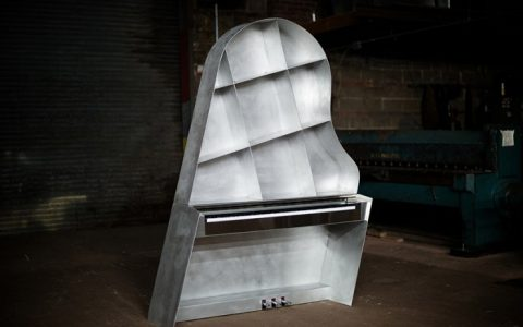 """NY designer Maciej Markowicz will be presenting first time in ICFF 2015 the Leaning Piano.""  Leaning Piano sculpture premiere at ICFF 2015 Leaning Piano sculpture premiere at ICFF 2015 events i lobo you6 480x300"