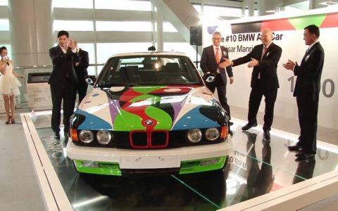 """This year 2015 BMW celebrates 40 years of BMW Art Cars and Partners With Art Basel Miami Beach."" BMW Art Car Art Basel: BMW Art Car by César Manrique Art Basel BMW Art Car by C  sar Manrique events I Lobo you9 480x300"