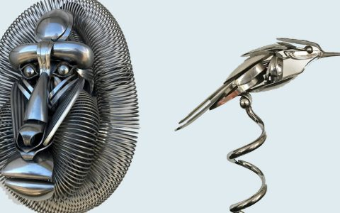 metal sculptures Old Cutlery Gets Transformed into Amazing Metal Sculptures feature image 7 480x300