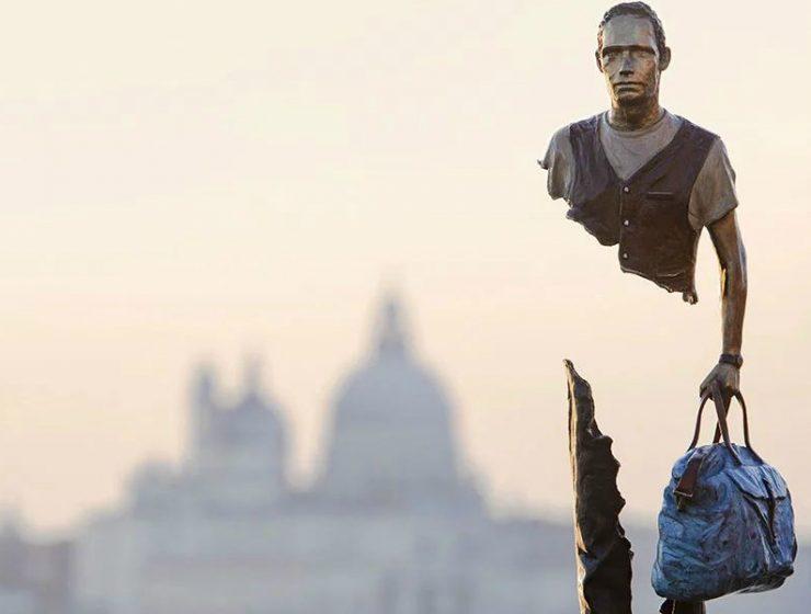 art sculptures 'Incomplete' Art Sculptures of Travelers by Bruno Catalano Incomplete Sculptures of Travelers by Bruno Catalano feature 740x560