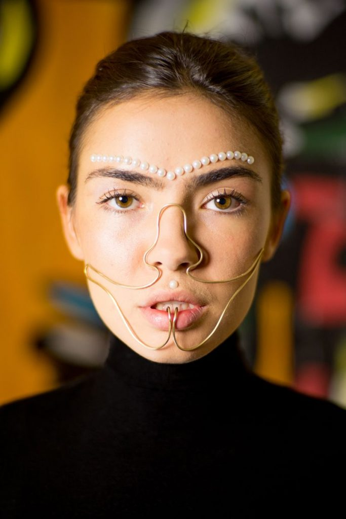 Luxury Jewelry Spiraling Down The Face by Designer Laura Estrada