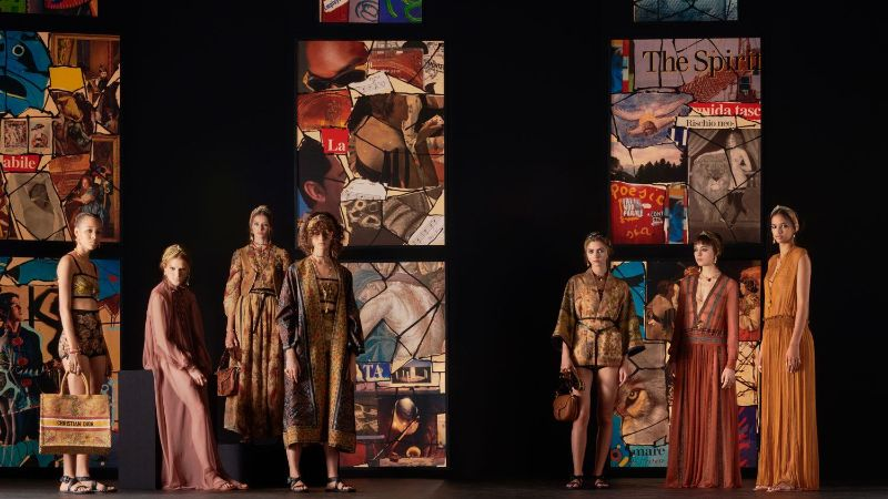 Collages Meet Stained Glass In Dior's Runway: References To Fine Art dior Dior 2021's Collection Uses Contemporary Collage Art As Its Backdrop Collages Meet Stained Glass In Diors Runway References To Fine Art 1