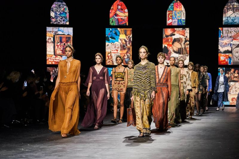 Collages Meet Stained Glass In Dior's Runway: References To Fine Art dior Dior 2021's Collection Uses Contemporary Collage Art As Its Backdrop Collages Meet Stained Glass In Diors Runway References To Fine Art 9