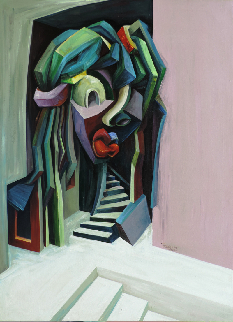 Architecture and Bold Geometry In Patrick Akpojotor's Cubist Portraits cubist portrait Architecture and Bold Geometry In Patrick Akpojotor's Cubist Portraits The house Stella Adadevoh built acrylic on canvas 48 X 36inches 2019JPG