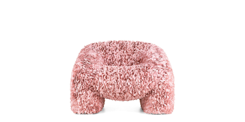 "Moooi Releases A Chair ""Impossible To Produce"", Made With 30,000 Fabric Petals moooi Moooi Releases A Chair ""Impossible To Produce"", Made With 30 000 Fabric Petals Hortensia Armchair Pink no background 1"