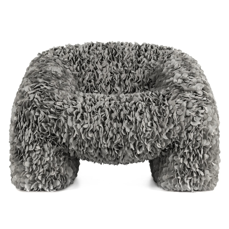 "Moooi Releases A Chair ""Impossible To Produce"", Made With 30,000 Fabric Petals moooi Moooi Releases A Chair ""Impossible To Produce"", Made With 30 000 Fabric Petals Moooi Hortensia Armchair Grey Front 1024x"