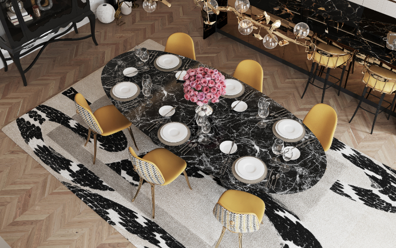 modern dining room Give Your Modern Dining Room An Artsy Aesthetic bl dark marble luxury dining table 2