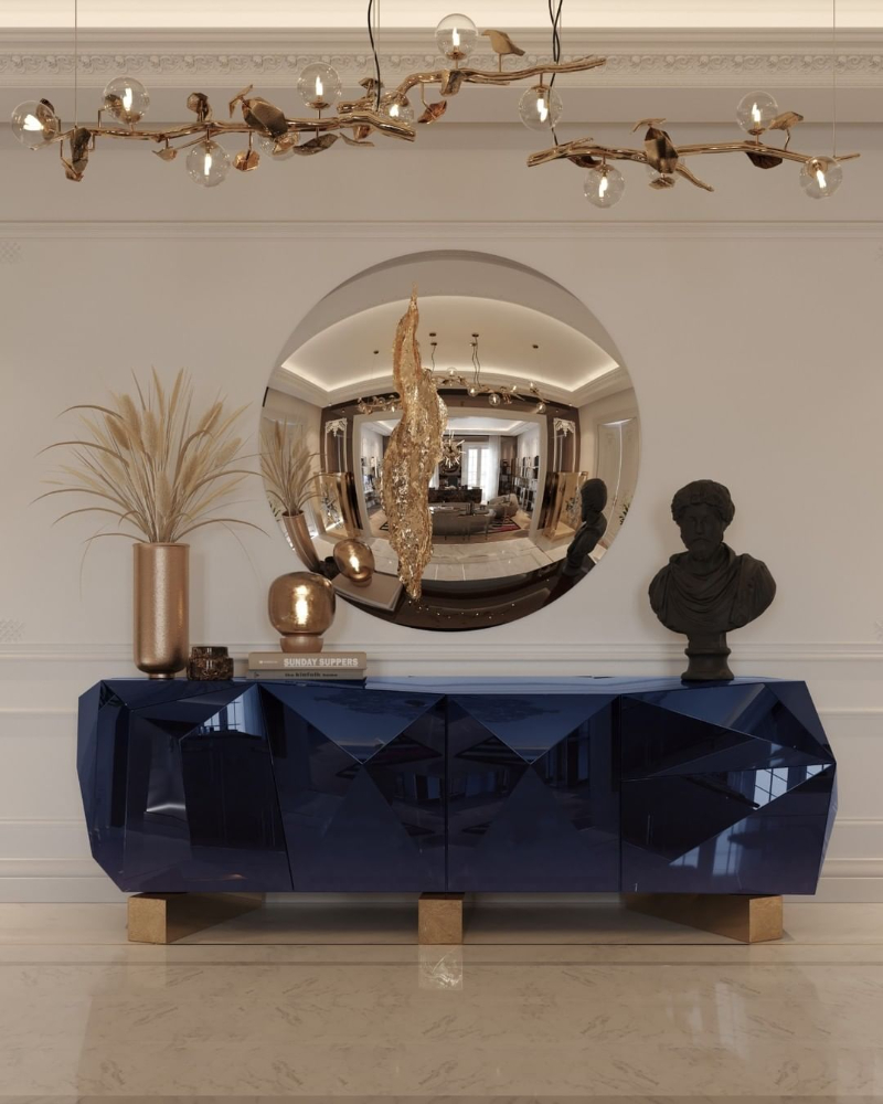 modern dining room Give Your Modern Dining Room An Artsy Aesthetic bl diamond blue contemporary sideboard 3