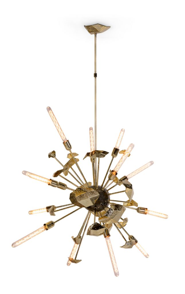 modern dining room Give Your Modern Dining Room An Artsy Aesthetic supernova chandelier 02 3 1 646x1024