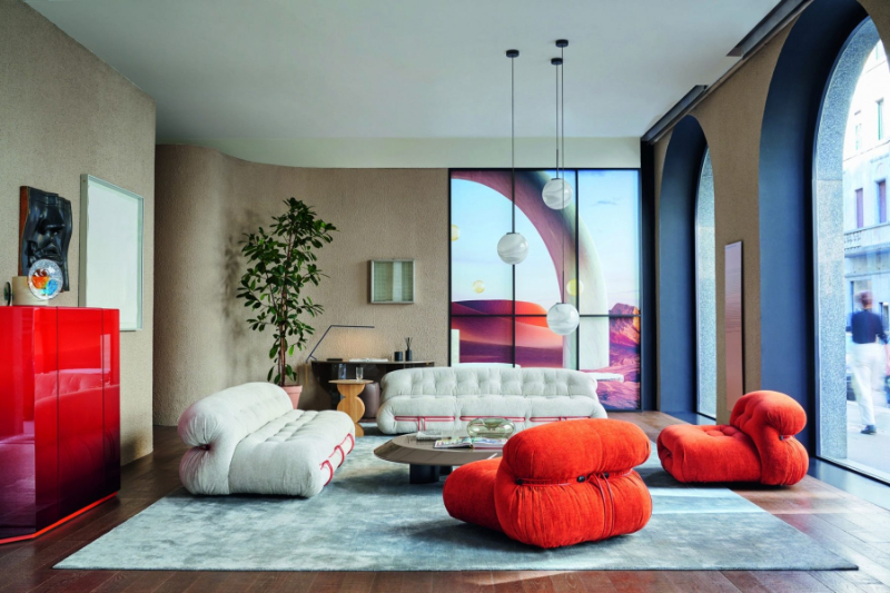 Colorful And Modern Living Room Furniture For A An Art-Filled Home